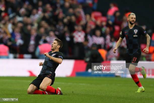 Andrej Kramaric of Croatia celebrates after scoring a goal to make it 10 during the UEFA Nations League A group four match between England and...
