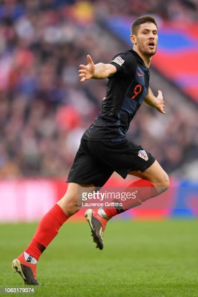 Andrej Kramaric of Croatia celebrates after scoring his team's first goal during the UEFA Nations League A group four match between England and...