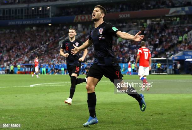 Andrej Kramaric of Croatia celebrates after scoring his team's first goal during the 2018 FIFA World Cup Russia Quarter Final match between Russia...