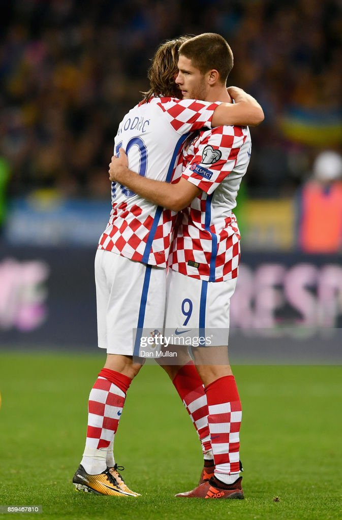 Andrej Kramaric of Croatia (9) celebrates as he with Luke Modric of Croatia as he scores their first goal during the FIFA 2018 World Cup Group I Qualifier between Ukraine and Croatia at Kiev Olympic Stadium on October 9, 2017 in Kiev, Ukraine.