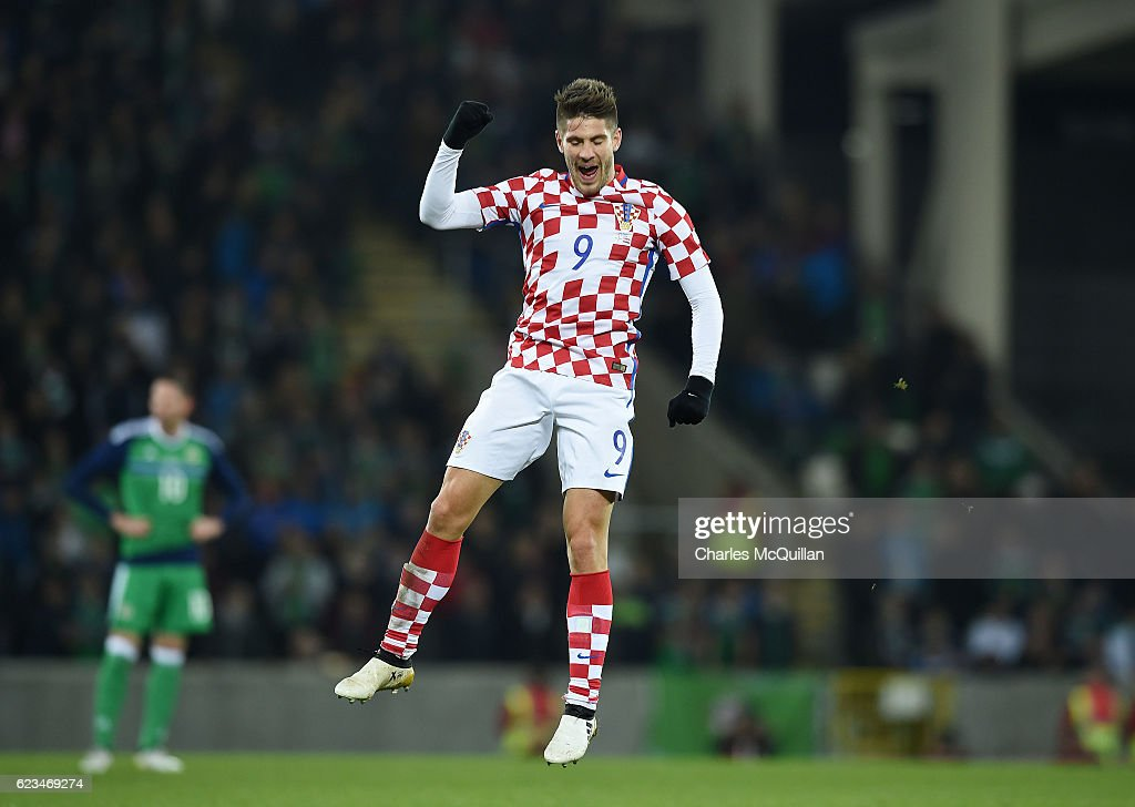 Andrej Kramaric of Croatia celebrates his goal during the international friendly fixture between Northern Ireland and Croatia at Windsor Park on November 15, 2016 in Belfast, Northern Ireland.