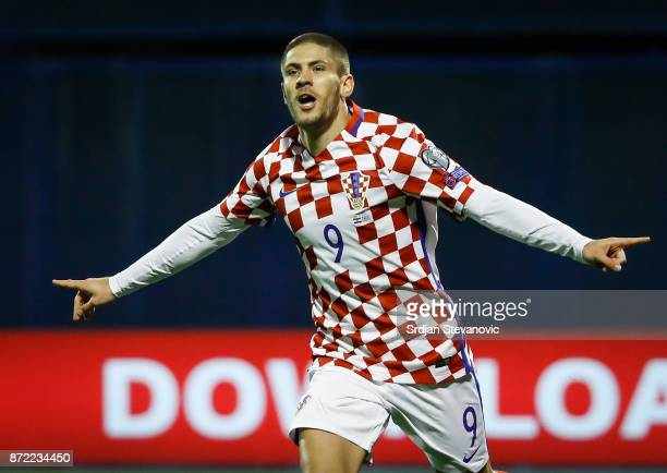 Andrej Kramaric of Croatia celebrates scoring a goal during the FIFA 2018 World Cup Qualifier PlayOff First Leg between Croatia and Greece at Stadion...