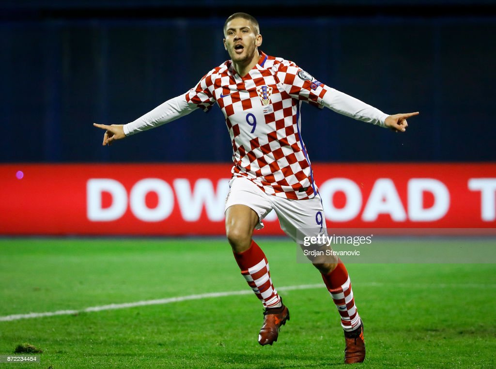 Andrej Kramaric of Croatia celebrates scoring a goal during the FIFA 2018 World Cup Qualifier Play-Off: First Leg between Croatia and Greece at Stadion Maksimir on November 9, 2017 in Zagreb, Croatia