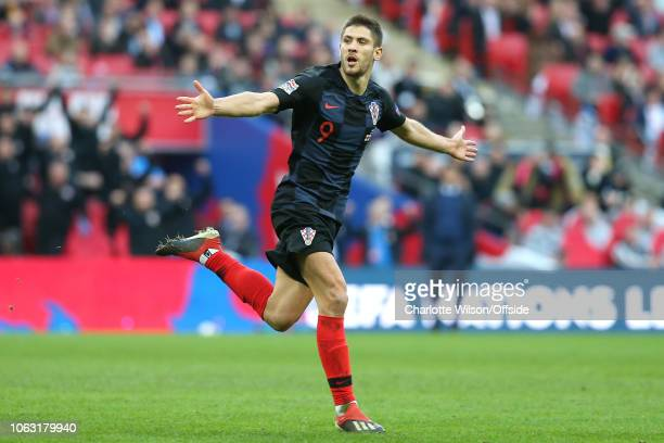 Andrej Kramaric of Croatia celebrates scoring the opening goal during the UEFA Nations League A group four match between England and Croatia at...