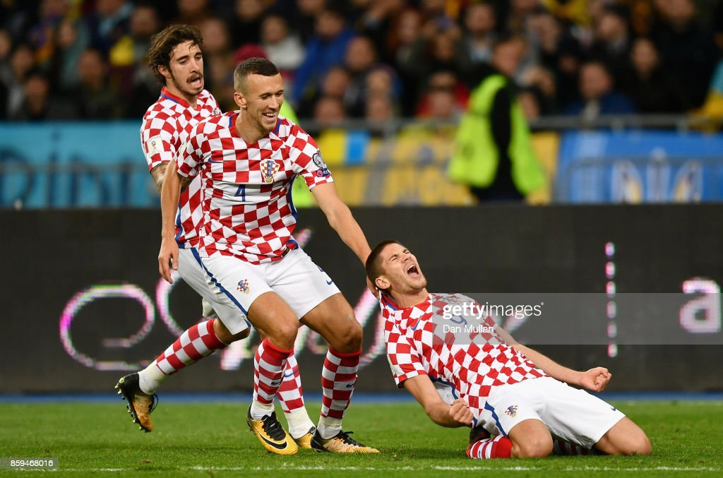 Andrej Kramaric of Croatia (9) celebrates with Ivan Perisic of Croatia as he scores their first goal during the FIFA 2018 World Cup Group I Qualifier between Ukraine and Croatia at Kiev Olympic Stadium on October 9, 2017 in Kiev, Ukraine.