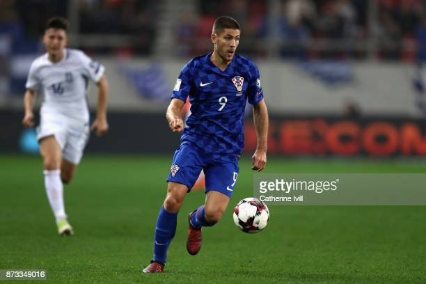Andrej Kramaric of Croatia in action during the FIFA 2018 World Cup Qualifier PlayOff Second Leg between Greece and Croatia at Karaiskakis Stadium on...