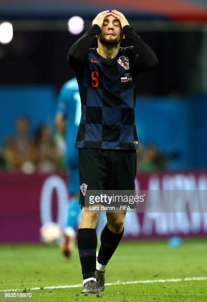 Andrej Kramaric of Croatia looks dejected after he misses his team's second penalty in the penalty shoot out during the 2018 FIFA World Cup Russia...