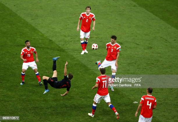 Andrej Kramaric of Croatia performs and overhead shot during the 2018 FIFA World Cup Russia Quarter Final match between Russia and Croatia at Fisht...