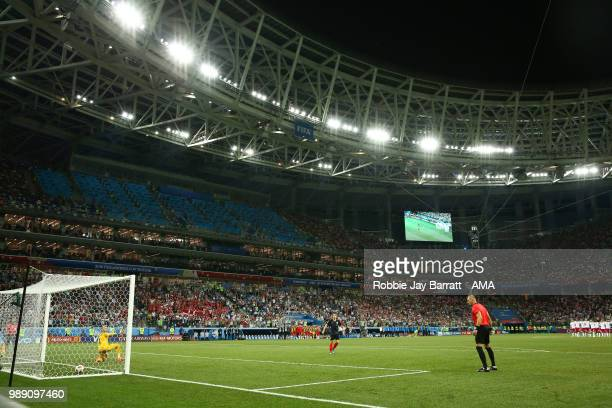 Andrej Kramaric of Croatia scores during a penalty shootout during the 2018 FIFA World Cup Russia Round of 16 match between Croatia and Denmark at...