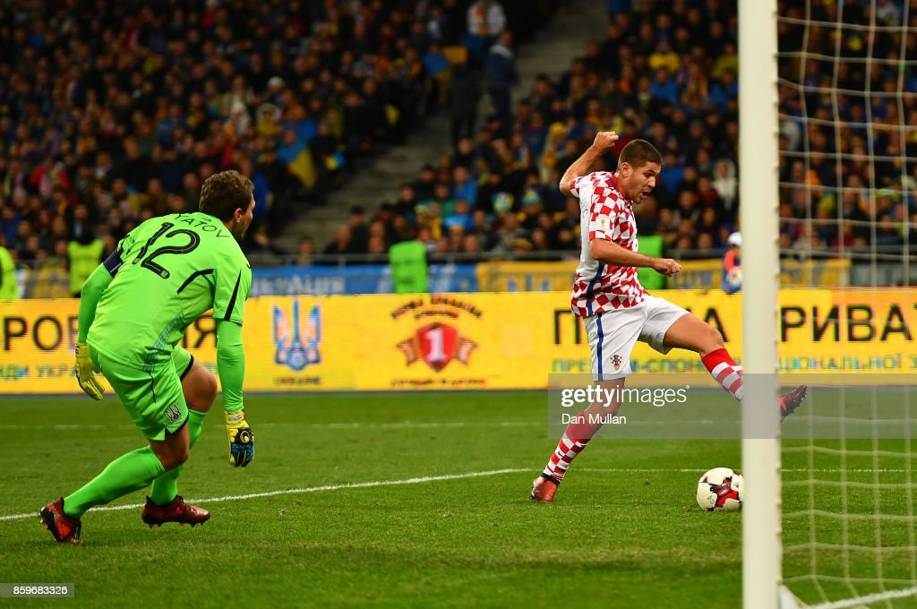 Andrej Kramaric of Croatia scores his side's second goal past Andriy Pyatov of Ukraine during the FIFA 2018 World Cup Qualifier Group I match between Ukraine and Croatia at Kiev Olympic Stadium on October 9, 2017 in Kiev, Ukraine.