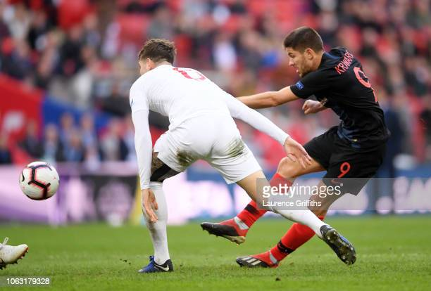 Andrej Kramaric of Croatia scores his team's first goal during the UEFA Nations League A group four match between England and Croatia at Wembley...