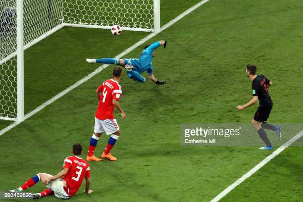 Andrej Kramaric of Croatia scores his team's first goal during the 2018 FIFA World Cup Russia Quarter Final match between Russia and Croatia at Fisht...