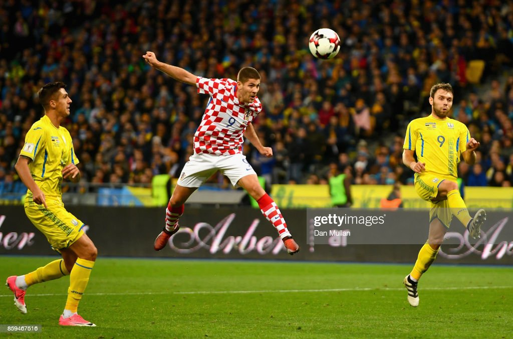 Andrej Kramaric of Croatia (9) scores their first goal with a header during the FIFA 2018 World Cup Group I Qualifier between Ukraine and Croatia at Kiev Olympic Stadium on October 9, 2017 in Kiev, Ukraine.