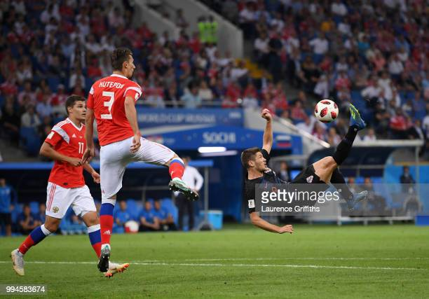 Andrej Kramaric of Croatia shoots at goal with an over head kick during the 2018 FIFA World Cup Russia Quarter Final match between Russia and Croatia...