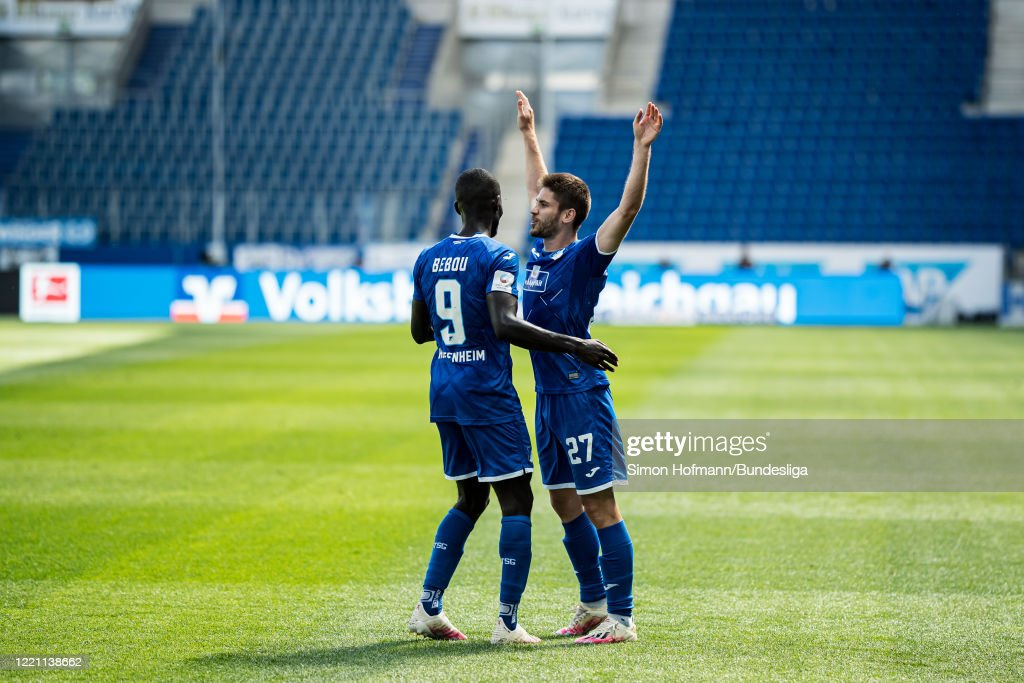 Andrej Kramaric of Hoffenheim celebrates a goal with team mate Ihlas...  News Photo - Getty Images