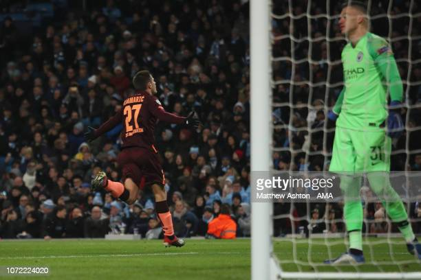 Andrej Kramaric of Hoffenheim celebrates after scoring a goal to make it 10 during the UEFA Champions League Group F match between Manchester City...