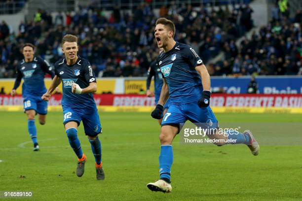 Andrej Kramaric of Hoffenheim celebrates his goal during the Bundesliga match between TSG 1899 Hoffenheim and 1 FSV Mainz 05 at Wirsol...