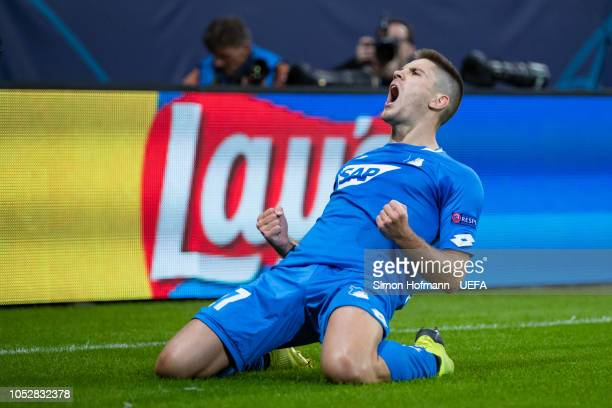 Andrej Kramaric of Hoffenheim celebrates his team's first goal during the UEFA Champions League Group F match between TSG 1899 Hoffenheim and...
