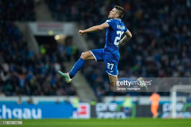 Andrej Kramaric of Hoffenheim celebrates his team's first goal during the Bundesliga match between TSG 1899 Hoffenheim and FC Schalke 04 at...