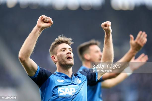 Andrej Kramaric of Hoffenheim celebrates his team's first goal during the Bundesliga match between TSG 1899 Hoffenheim and SV Darmstadt 98 at Wirsol...