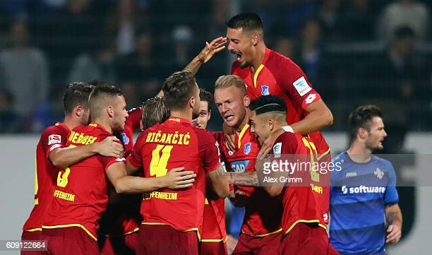 Andrej Kramaric of Hoffenheim celebrates his team's first goal with team mates during the Bundesliga match between SV Darmstadt 98 and TSG 1899...