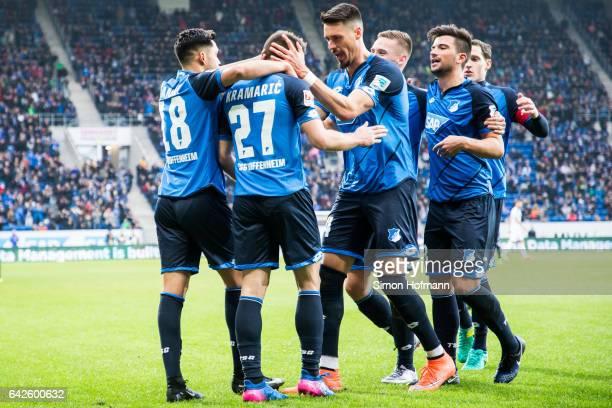 Andrej Kramaric of Hoffenheim celebrates his team's first goal with team mate Sandro Wagner during the Bundesliga match between TSG 1899 Hoffenheim...