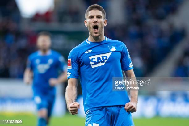 Andrej Kramaric of Hoffenheim celebrates his team's second goal during the Bundesliga match between TSG 1899 Hoffenheim and 1 FC Nuernberg at...