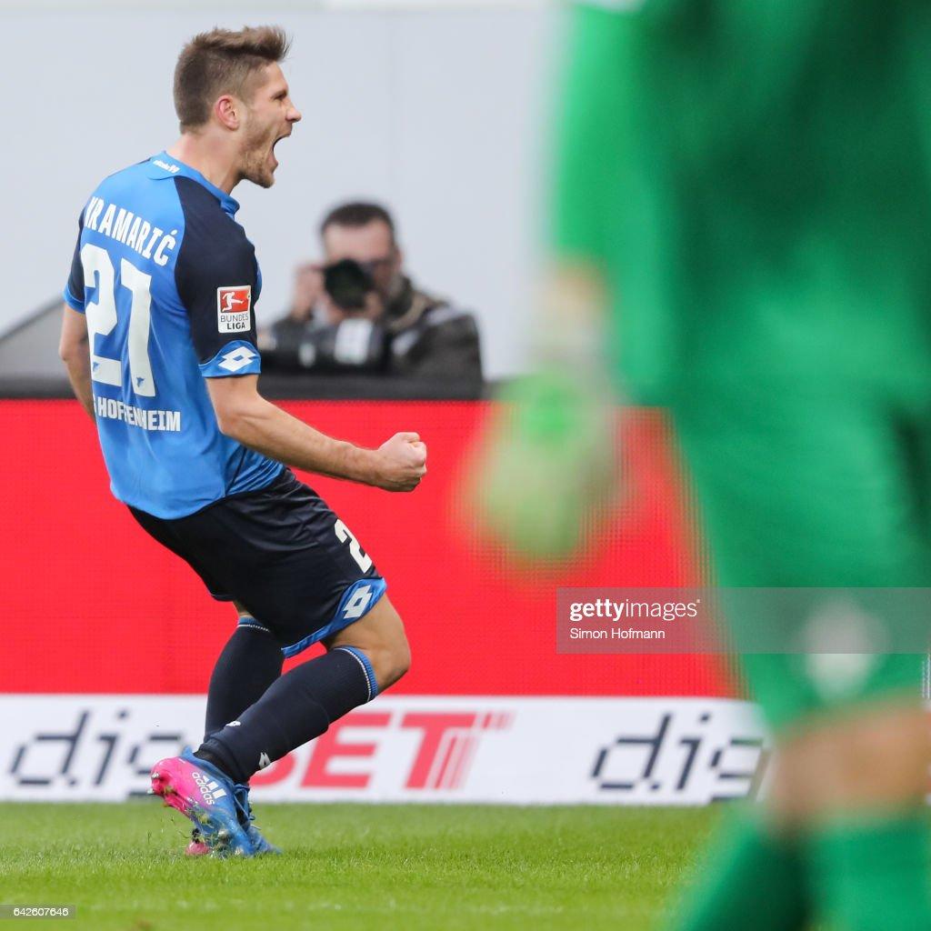 Andrej Kramaric of Hoffenheim celebrates his team's second goal during the Bundesliga match between TSG 1899 Hoffenheim and SV Darmstadt 98 at Wirsol Rhein-Neckar-Arena on February 18, 2017 in Sinsheim, Germany.
