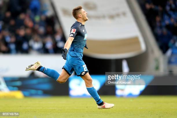 Andrej Kramaric of Hoffenheim celebrates the first goal during the Bundesliga match between TSG 1899 Hoffenheim and SportClub Freiburg at Wirsol...