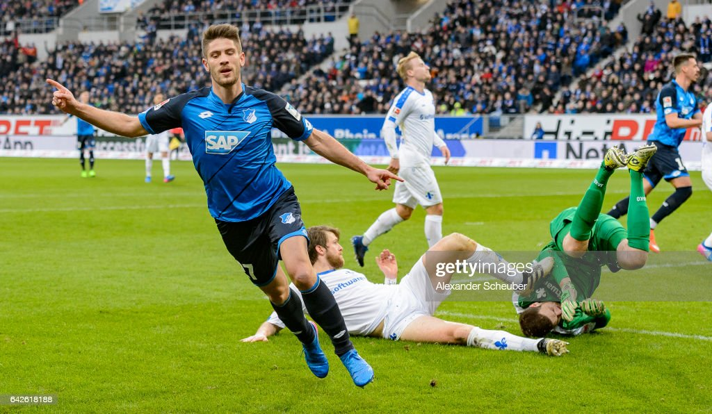Andrej Kramaric of Hoffenheim celebrates the first goal for his team during the Bundesliga match between TSG 1899 Hoffenheim and SV Darmstadt 98 at Wirsol Rhein-Neckar-Arena on February 18, 2017 in Sinsheim, Germany.