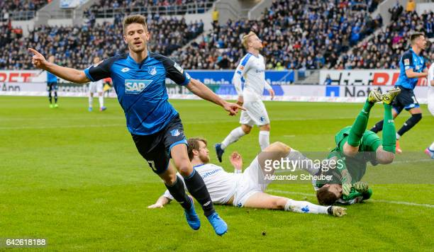 Andrej Kramaric of Hoffenheim celebrates the first goal for his team during the Bundesliga match between TSG 1899 Hoffenheim and SV Darmstadt 98 at...