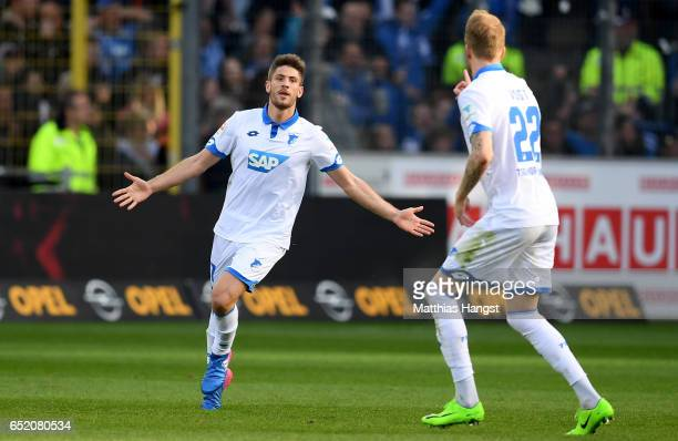 Andrej Kramaric of Hoffenheim scores his teams first goal during the Bundesliga match between SC Freiburg and TSG 1899 Hoffenheim at...