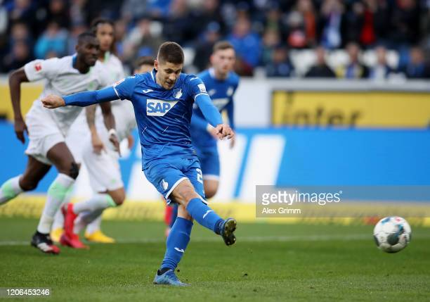 Andrej Kramaric of Hoffenheim scores his team's second goal by penalty during the Bundesliga match between TSG 1899 Hoffenheim and VfL Wolfsburg at...