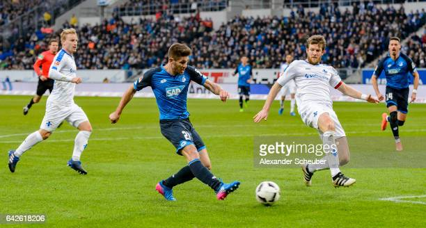 Andrej Kramaric of Hoffenheim scores the first goal for his team during the Bundesliga match between TSG 1899 Hoffenheim and SV Darmstadt 98 at...