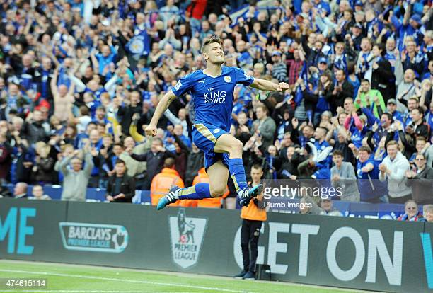 Andrej Kramaric of Leicester City celebrates after scoring to make it 40 during the Premier League match between Leicester City and Queens Park...