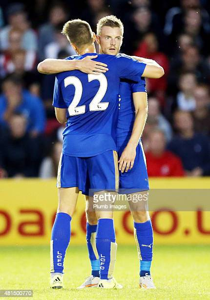 Andrej Kramaric of Leicester city celebrates with Jamie Vardy of Leicester City after scoring to make it 12 during the preseason friendly between...