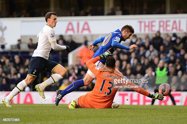 Andrej Kramaric of Leicester City goes down in the Tottenham box but is adjudged to have dived and is shown a yellow card during the FA Cup Fourth...