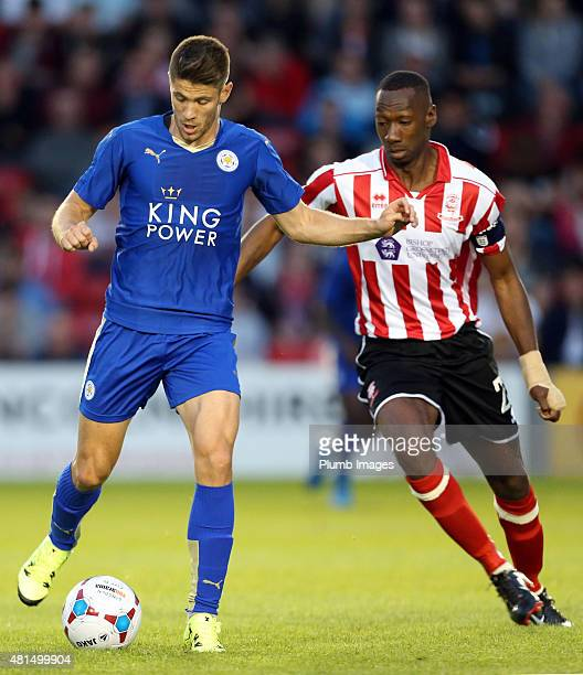 Andrej Kramaric of Leicester city in action during the preseason friendly between Lincoln City and Leicester City at Sincil Bank Stadium on July 21...