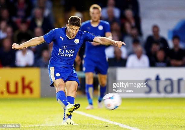 Andrej Kramaric of Leicester city scores to make it 12 during the preseason friendly between Lincoln City and Leicester City at Sincil Bank Stadium...