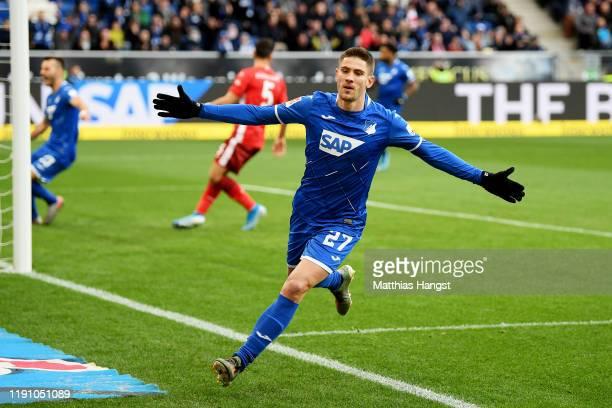 Andrej Kramaric of TSG 1899 Hoffenheim celebrates after scoring his team's first goal during the Bundesliga match between TSG 1899 Hoffenheim and...