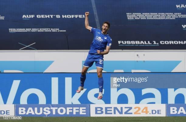 Andrej Kramaric of TSG 1899 Hoffenheim celebrates after scoring his team's second goal during the Bundesliga match between TSG 1899 Hoffenheim and 1....