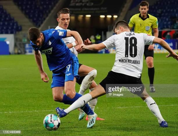 Andrej Kramaric of TSG Hoffenheim, Hannes Wolf of Borussia Moenchengladbach, Stefan Lainer of Borussia Moenchengladbach during the Bundesliga match...