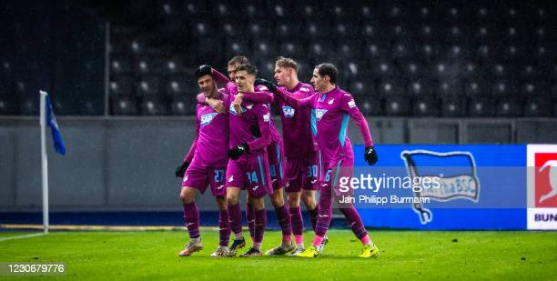 Andrej Kramaric, Stefan Posch, Christoph Baumgartner, Marco John and Sebastian Rudy of the TSG 1899 Hoffenheim celebrate after scoring the 0:2 during...