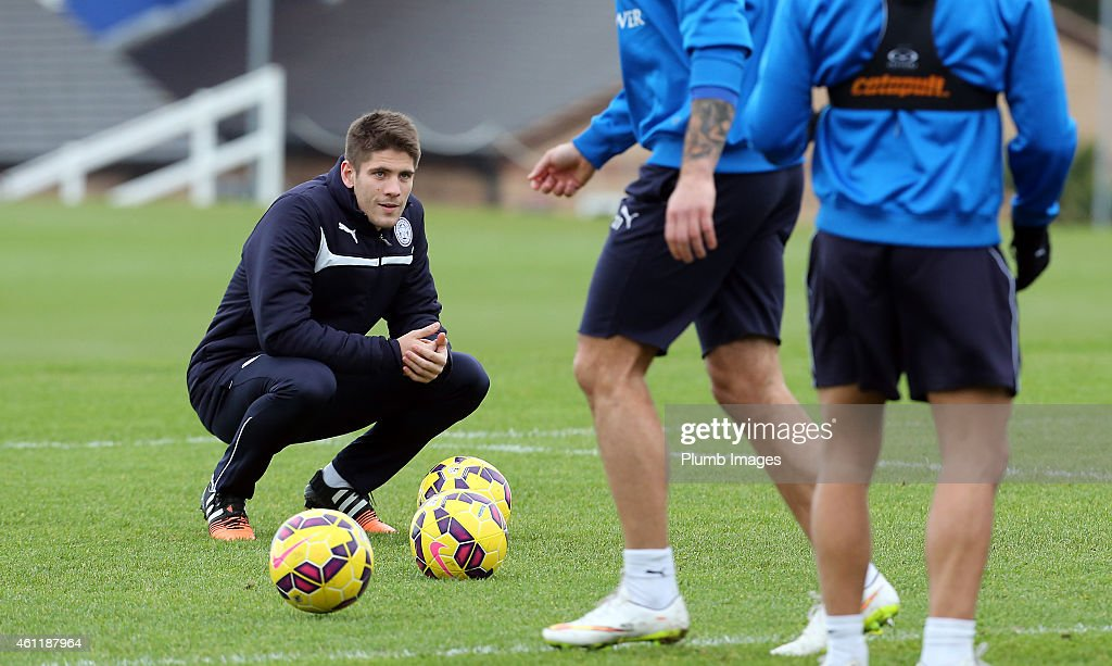 Andrej Kramaric watches first team training at Leicester City FC ahead of a proposed transfer to the club at Belvoir Drive Training Ground on January 8, 2015 in Leicester, England.