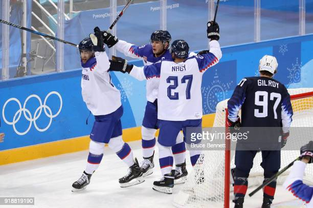 Andrej Kudrna of Slovakia celebrates after scoring against the United States during the Men's Ice Hockey Preliminary Round Group B game at Gangneung...