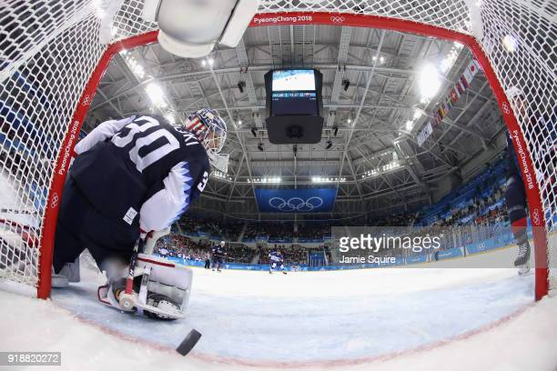 Andrej Kudrna of Slovakia scores against Ryan Zapolski of the United States during the Men's Ice Hockey Preliminary Round Group B game at Gangneung...