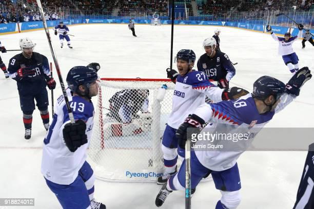 Andrej Kudrna of Slovakia Tomas Surovy of Slovakia and Ladislav Nagy of Slovakia celebrate after Kudrna scores against the United States during the...