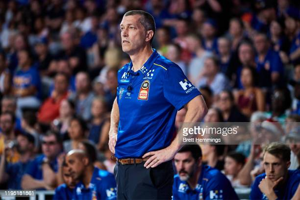 Andrej Lemanis, coach of the Bullets looks on during the round 12 NBL match between the Brisbane Bullets and the Sydney Kings at Nissan Arena on...