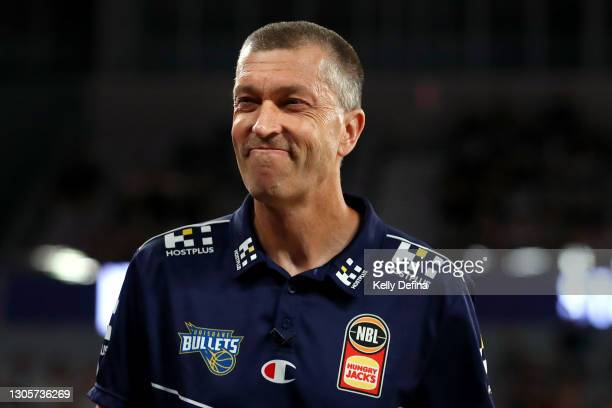 Andrej Lemanis coach of the bullets reacts during the NBL Cup match between Melbourne United and the Brisbane Bullets at John Cain Arena on March 07...