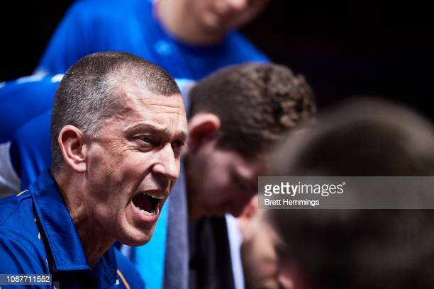 Andrej Lemanis coach of the Bullets speaks to players during the round 11 NBL match between the Sydney Kings and the Brisbane Bullets at Qudos Bank...